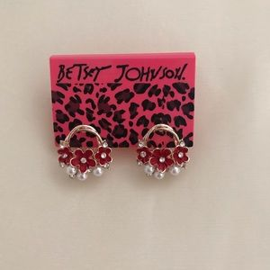 Betsey Johnson Red Flower Earrings NWT